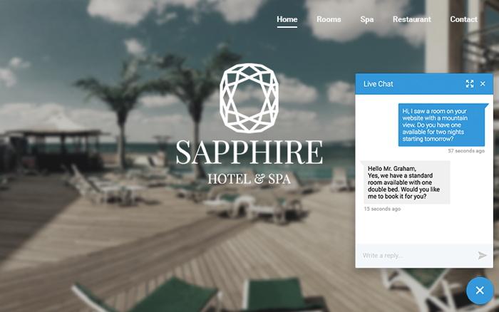 live website chat on travel website