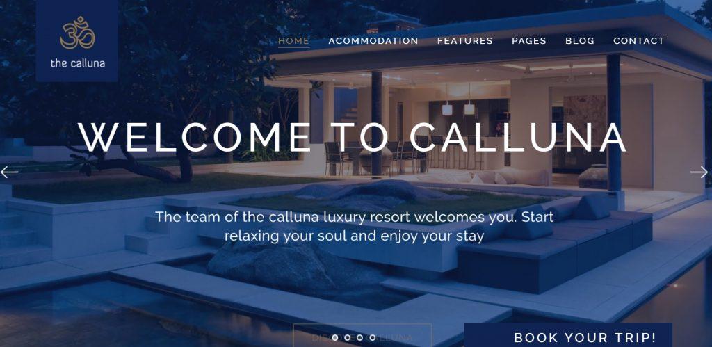 calluna hotel wordpress theme