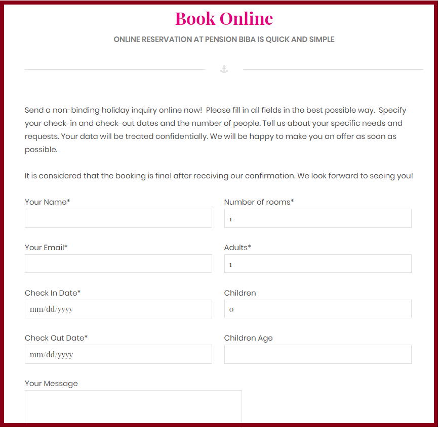 simple booking process accommodation